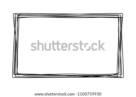 Grungy scribble rectangle frame hand drawn with thin line, divider shape. Vector illustration