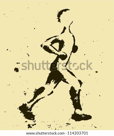 Grungy Sport Illustration Of A Man Running Or Jogging