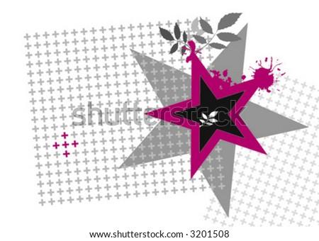 grungy star - stock vector
