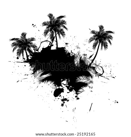 Grungy tropical palm tree graphic with lots of splatter.