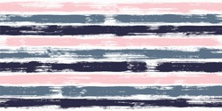 Grungy watercolor brush stripes seamless pattern. Caramel pink, navy blue and metal grey paintbrush lines horizontal seamless texture for backdrop. Hand drown paint strokes graphic artwork. For print.