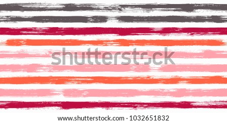 Grungy watercolor brush stripes seamless pattern. Ice cream pink, creme orange, red and brown paintbrush lines horizontal seamless texture for backdrop. Hand drown paint strokes decorative artwork.
