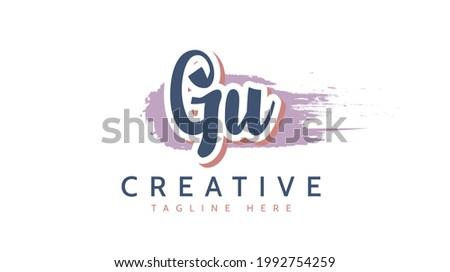 GU Initials, handwriting logo vector