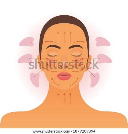 Gua Sha Facial Massage Treatment. Modern Flat Vector Illustration. Female Portrait with Massage Scheme with Gua Sha Stones. Website Template. Social Media Concept. Foto stock ©