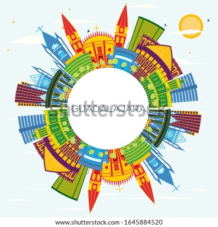 Guadalajara Mexico City Skyline with Color Buildings, Blue Sky and Copy Space. Vector Illustration. Business Travel and Tourism Concept with Historic Architecture. Guadalajara Cityscape with Landmarks
