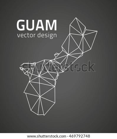 Guam black perspective contour vector map