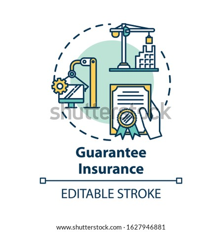 Guarantee insurance concept icon. Financial paperwork. Safety coverage for property. Business contract idea thin line illustration. Vector isolated outline RGB color drawing. Editable stroke Stockfoto ©