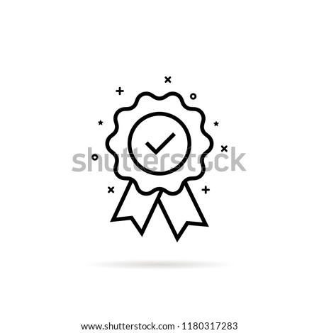 guarantee or medal thin line icon. concept of minimal consumer control emblem or assurance. flat stroke trend modern distinction win logotype graphic lineart design simple element on white background
