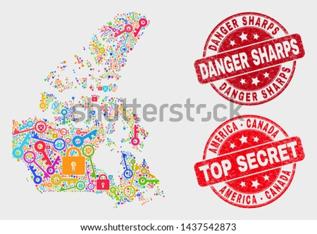 Guard Canada v2 map and stamps. Red round Top Secret and Danger Sharps grunge seal stamps. Colorful Canada v2 map mosaic of different security items. Vector combination for guard purposes.