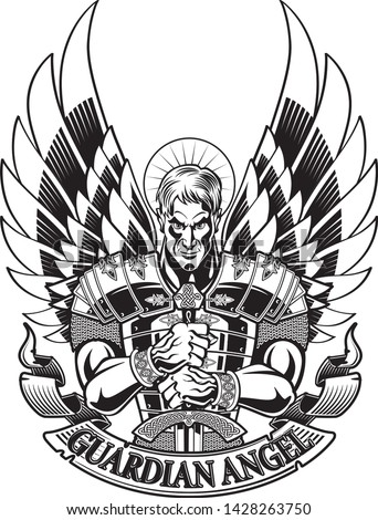 guardian angel in armor holding