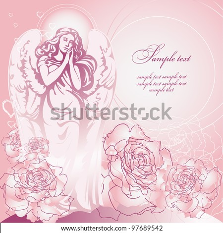 guardian angel of pink roses