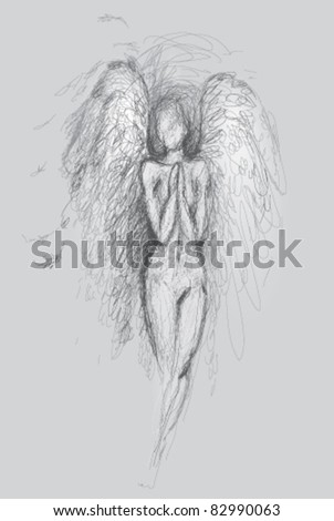 guardian angel   vector sketch