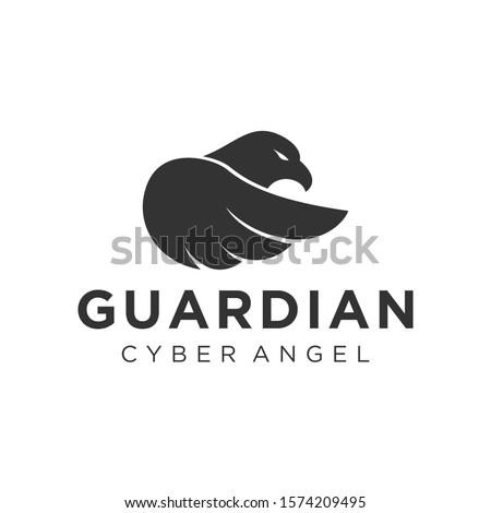 Guardian aves eagle bird logo simple minimalist design, animal icon modern business technology cyber security. Foto stock ©