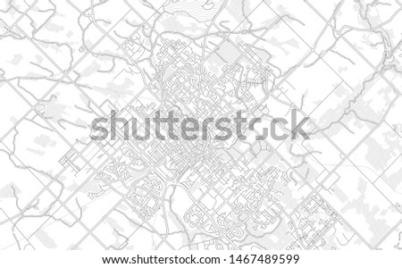 Guelph, Ontario, Canada, bright outlined vector map with bigger and minor roads and steets created for infographic backgrounds.