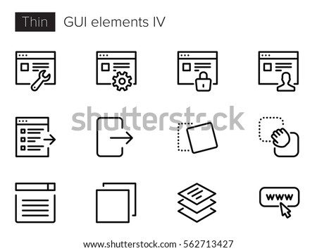 GUI Elements for Applications Thin line Vector Icons set