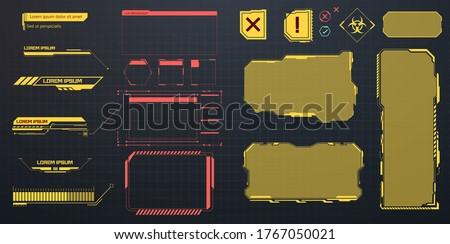 GUI Futuristic User Interface. Creative set futuristic frame, virtual Hi-tech display, screen, element. Callouts titles in HUD style. Futuristic callout bar labels, information call box bars. Vector