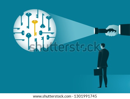 Guidance in finding and choosing a solution. A hand with flashlight highlights among many the key to success. Business concept. Vector illustration