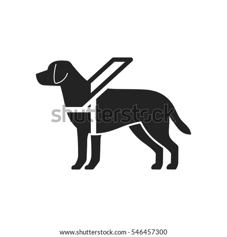 Guide dog icon. Black silhouette of animal.