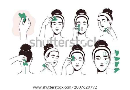 Guide for face lifting massage with facial tool. Instruction of beauty procedure with jade stone gua sha. Woman massaging and scraping her skin. Flat vector illustration isolated on white background Foto stock ©