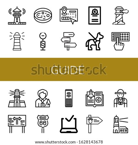 guide simple icons set. Contains such icons as Lighthouse, Sample, Signpost, Guide, Cicerone, Guide dog, Braille, Road sign, Tour Pasta, can be used for web, mobile and logo