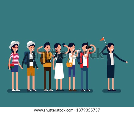 Guide tour and group of tourists. Vector people travel concept, Guide tour explains details about country, Holiday, Family.