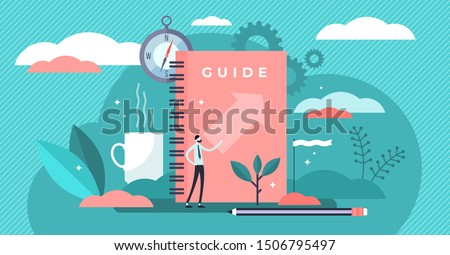 Guide vector illustration. Flat tiny technical FAQ information persons concept. Abstract search and find for information guidance and knowledge. Manual support and instruction presentation brochure. Foto d'archivio ©
