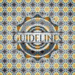 Guidelines arabesque emblem. arabic decoration.