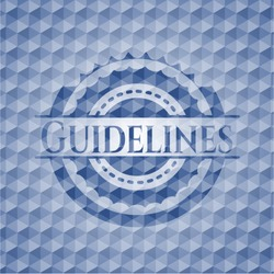 Guidelines blue badge with geometric pattern. Vector Illustration. Detailed.