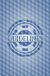 Guidelines blue emblem with geometric pattern. Vector Illustration. Detailed.