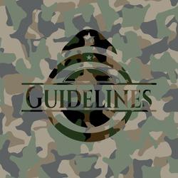 Guidelines camo emblem. Vector Illustration. Detailed.