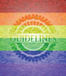 Guidelines emblem on mosaic background with the colors of the LGBT flag