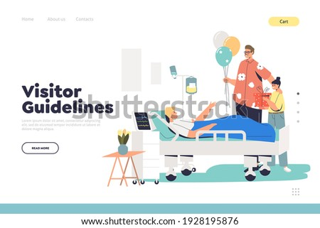 Guidelines for visitors in hospital concept of landing page with family attending patient during recovery in intensive therapy room after illness. Cartoon flat vector illustration Photo stock ©