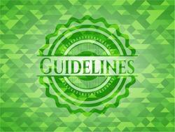 Guidelines green emblem. Mosaic background. Vector Illustration. Detailed.