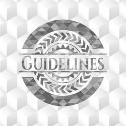 Guidelines grey emblem with cube white background