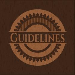 Guidelines realistic wooden emblem. Vector Illustration.