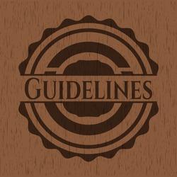 Guidelines retro wooden emblem. Vector Illustration.