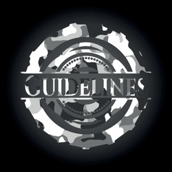 Guidelines written on a grey camouflage texture
