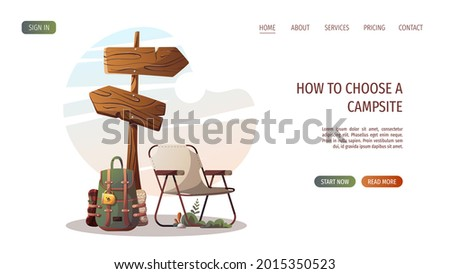 Guidepost, camping chair and backpack. Camping, traveling, trip, hiking, campsite, nature, journey concept. Vector illustration for poster, banner, website. Stock photo ©