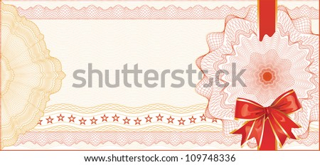 Guilloche Background with Red Bow for Gift Certificate / Vector
