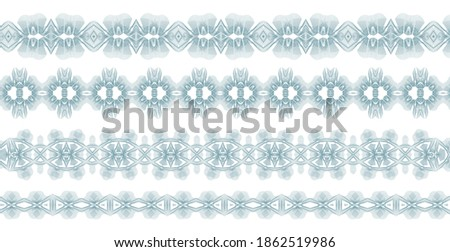 Guilloche money border collection. Watermark line pattern useful for bank note, cheque, certificate, currency background design. Vector set Foto d'archivio ©