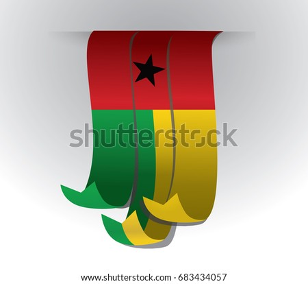 guin bissau flag ribbon with
