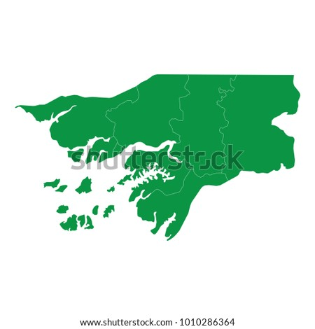 Guinea Bissau map isolated on transparent background. high detailed Green map of Guinea Bissau. Vector illustration eps 10.