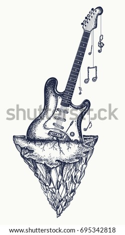 3380d169c429c Guitar and mountains tattoo and t-shirt design. Symbol of hard rock, punk