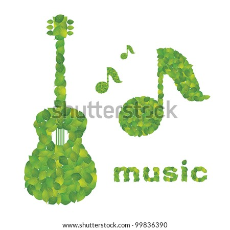 Guitar and note made ??in the leaves