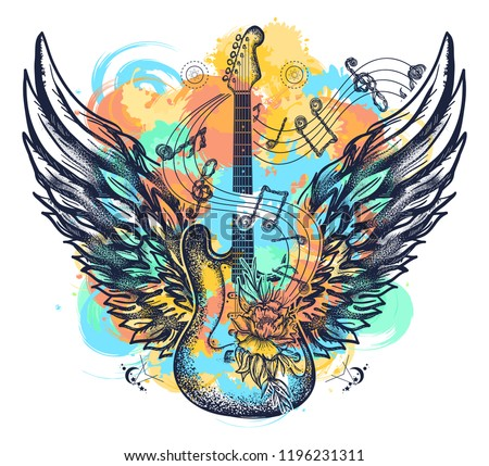 Guitar and wings tattoo watercolor splashes style. Rock and roll t-shirt design. Symbol of music, musical festivals. Electric guitar art