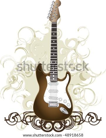 Guitar background graphic sepia
