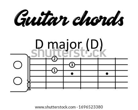 Guitar chords: D major or D. Vector illustration in flat style for printing, musicians, teachers, children, students, music schools. Photo stock ©