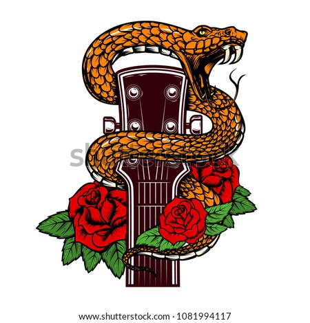guitar head with snake and
