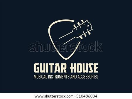 Guitar house outline logo