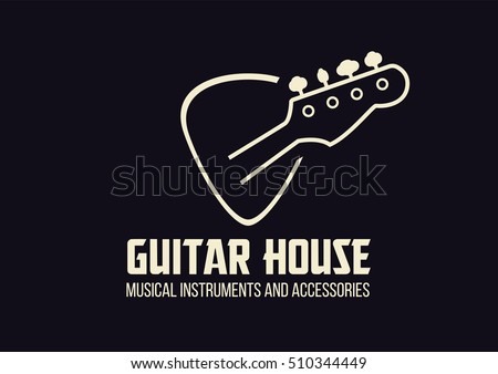guitar house outline logo with